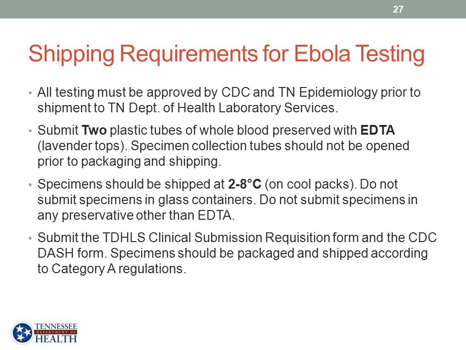 Shipping Requirements for Ebola Testing
