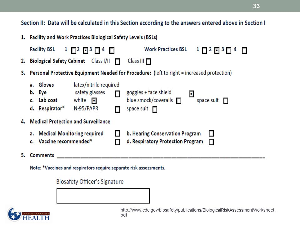 Based on the answers given in Section 1, HIV EIA testing should meet, at a minimum, BSL2 facility and work practices, PPE to include gloves, lab coat, goggles + face shield.