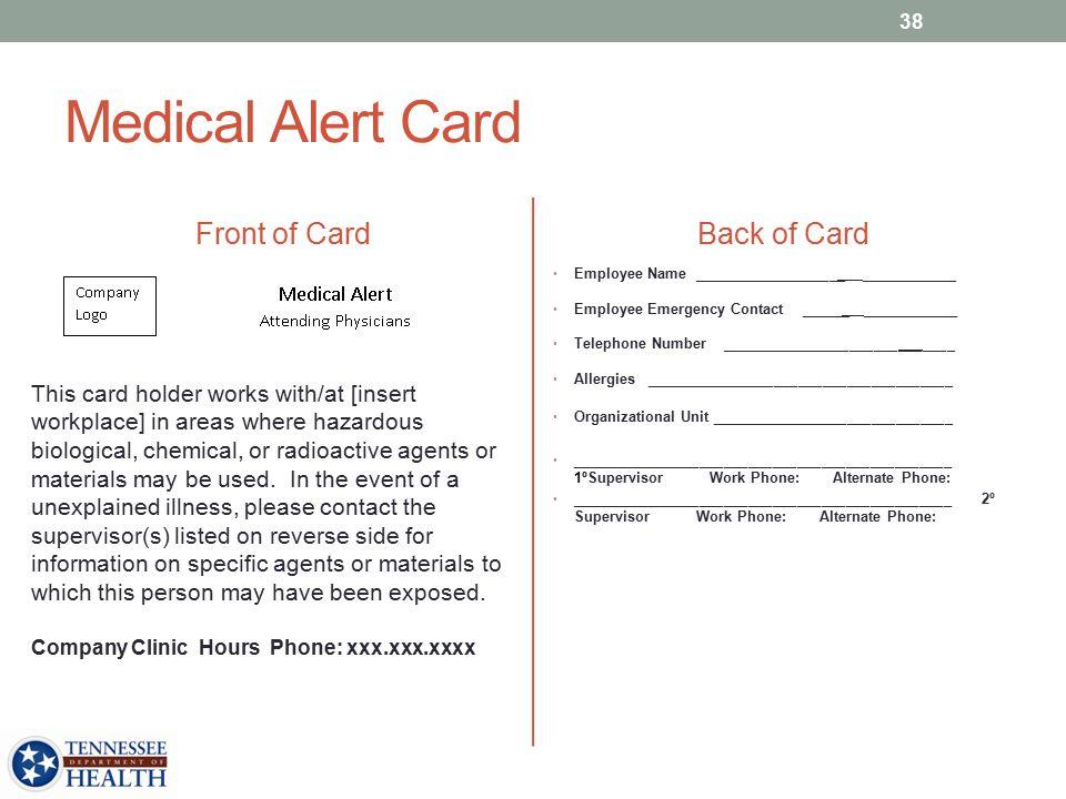 Medical Alert Card Front of Card Back of Card