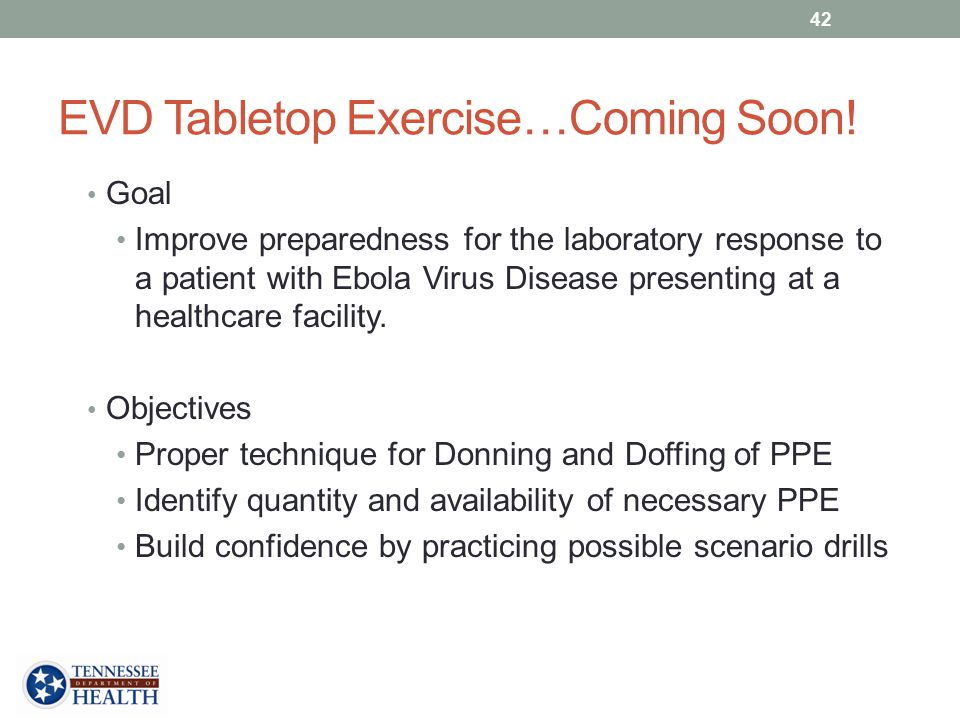 EVD Tabletop Exercise…Coming Soon!