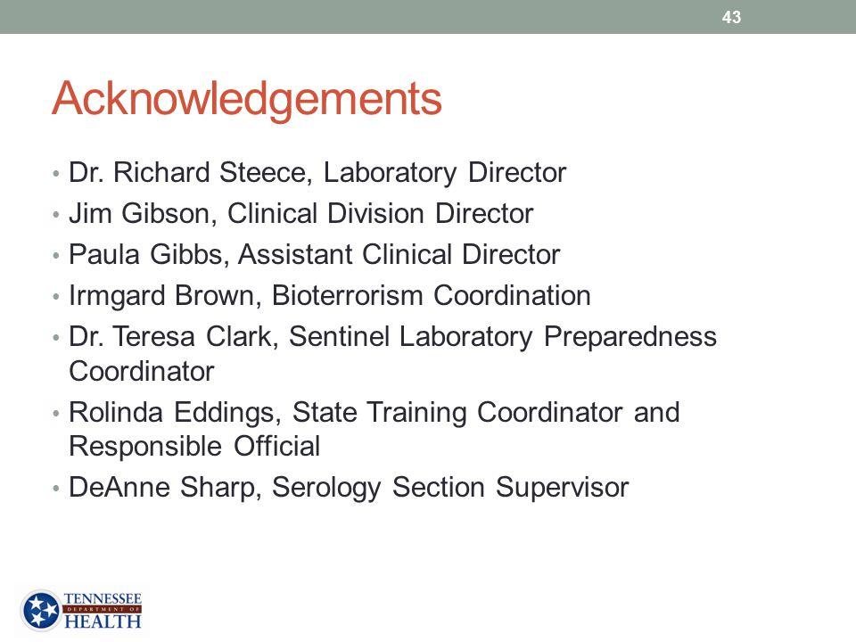 Acknowledgements Dr. Richard Steece, Laboratory Director
