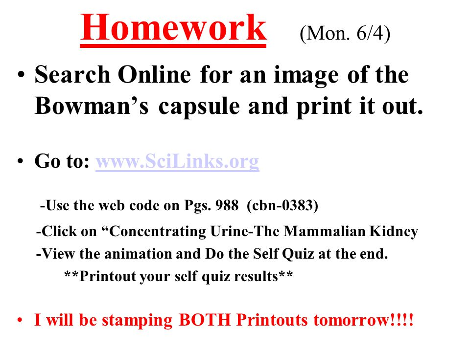 Homework (Mon. 6/4) -Use the web code on Pgs. 988 (cbn-0383)