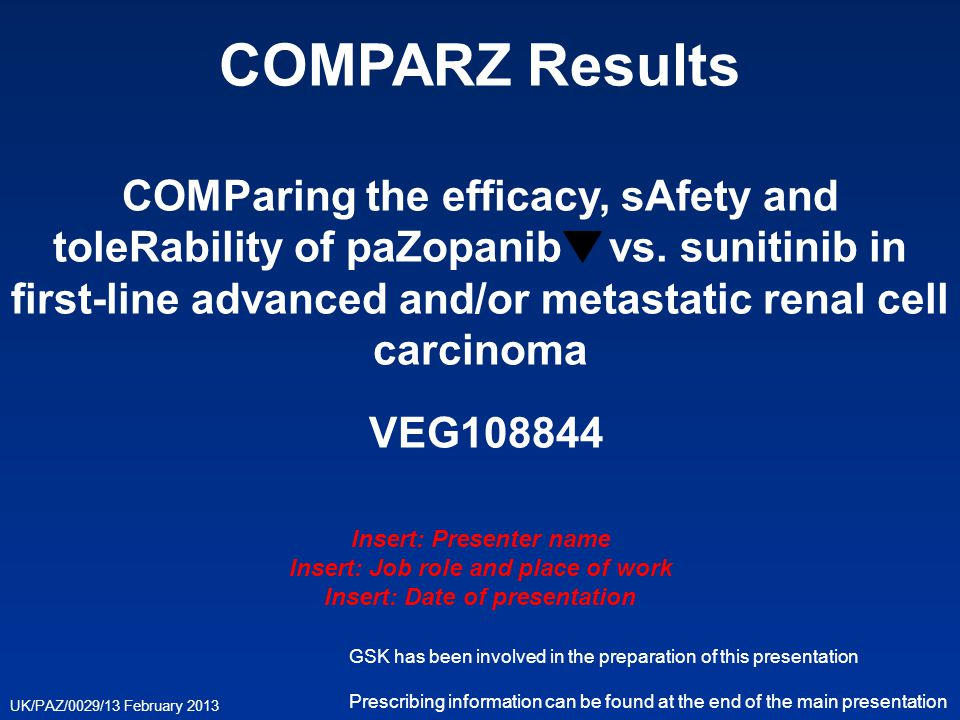 COMPARZ Results COMParing the efficacy, sAfety and toleRability of paZopanib vs. sunitinib in first-line advanced and/or metastatic renal cell carcinoma VEG108844