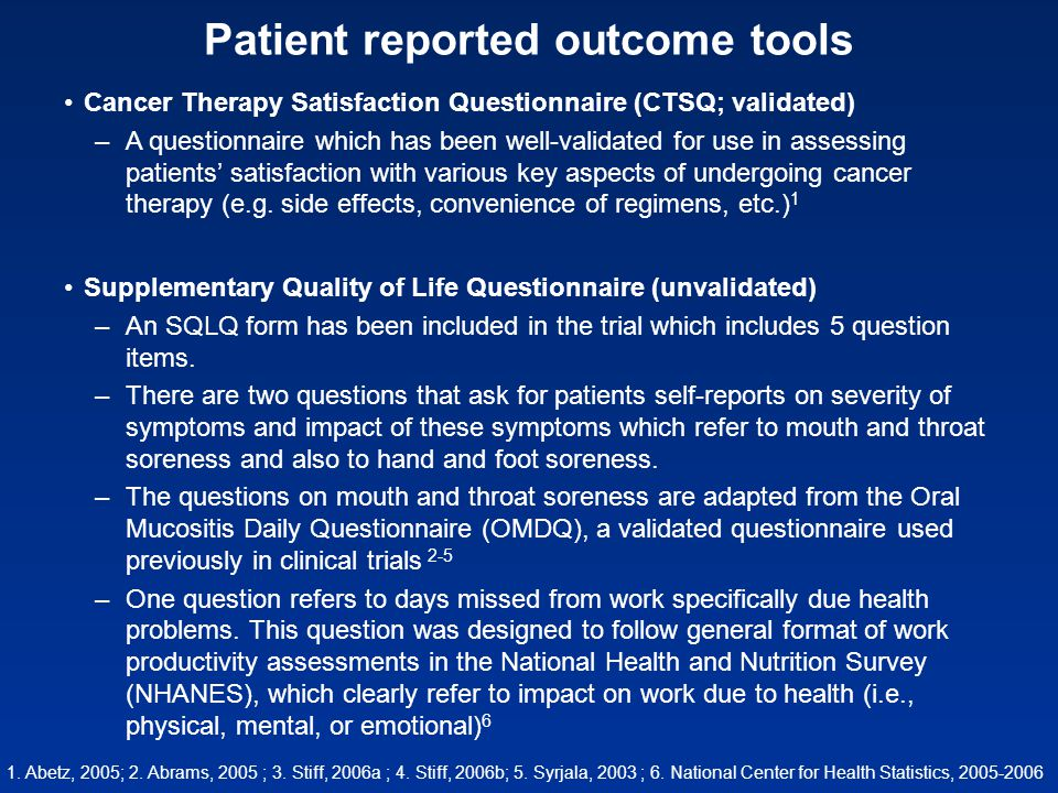 Patient reported outcome tools