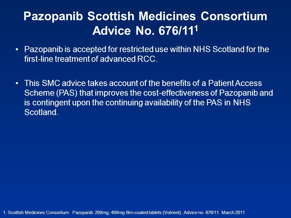Pazopanib Scottish Medicines Consortium Advice No. 676/111