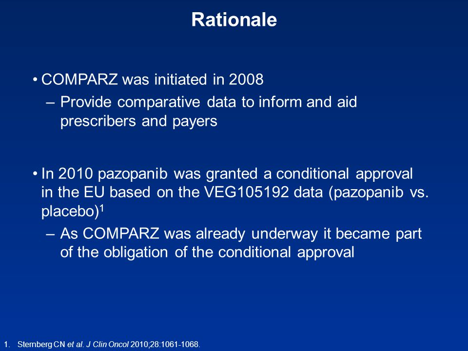 Rationale COMPARZ was initiated in 2008