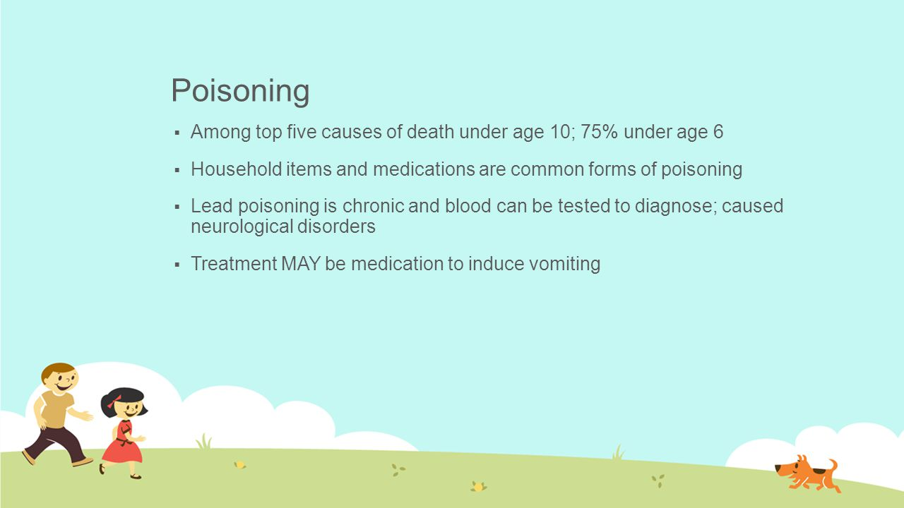 Poisoning Among top five causes of death under age 10; 75% under age 6
