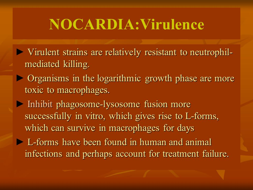NOCARDIA:Virulence ► Virulent strains are relatively resistant to neutrophil-mediated killing.