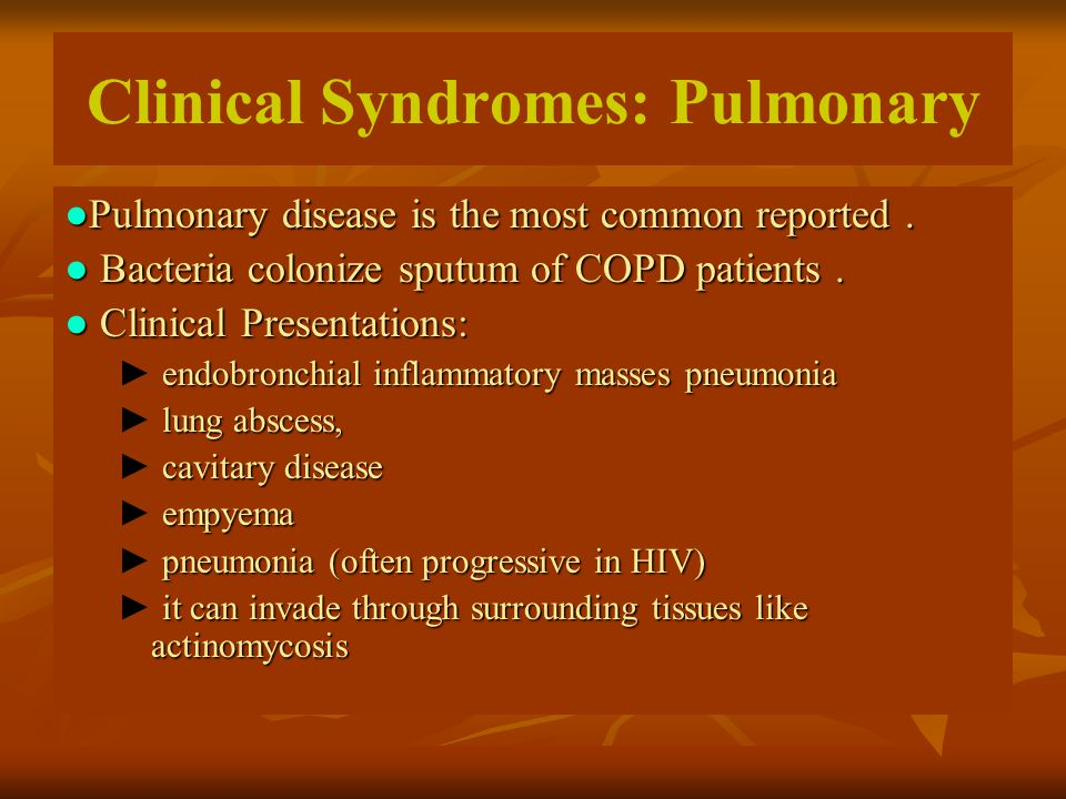 Clinical Syndromes: Pulmonary