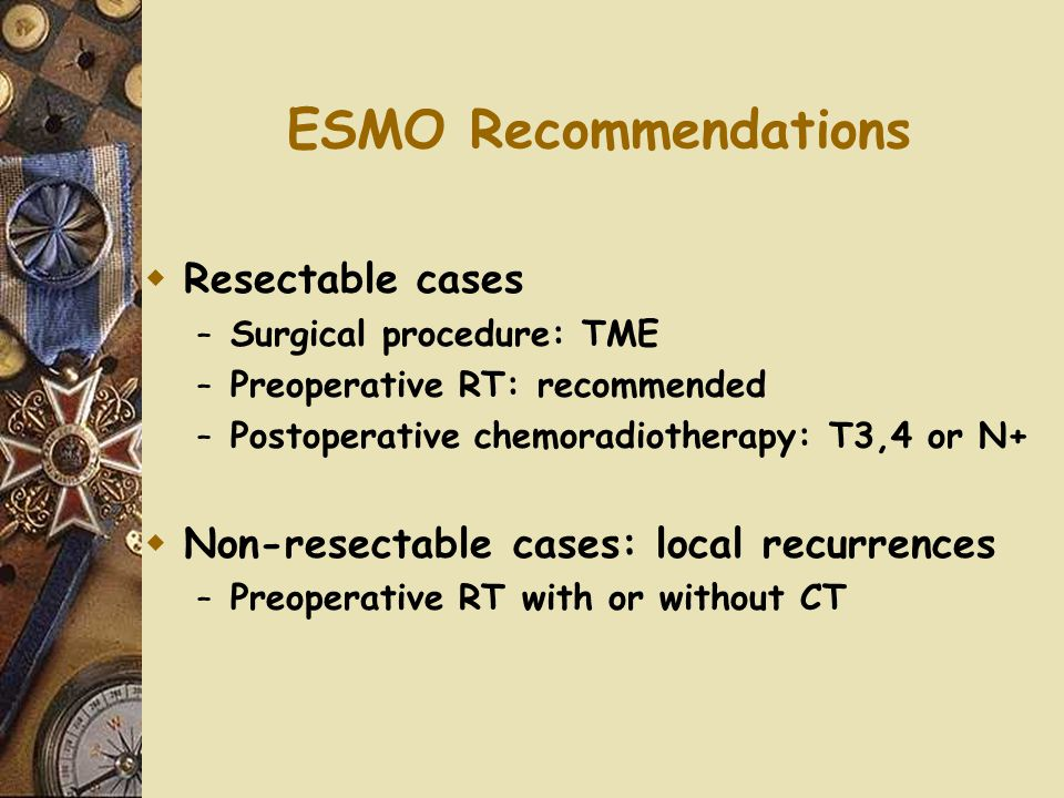 ESMO Recommendations Resectable cases