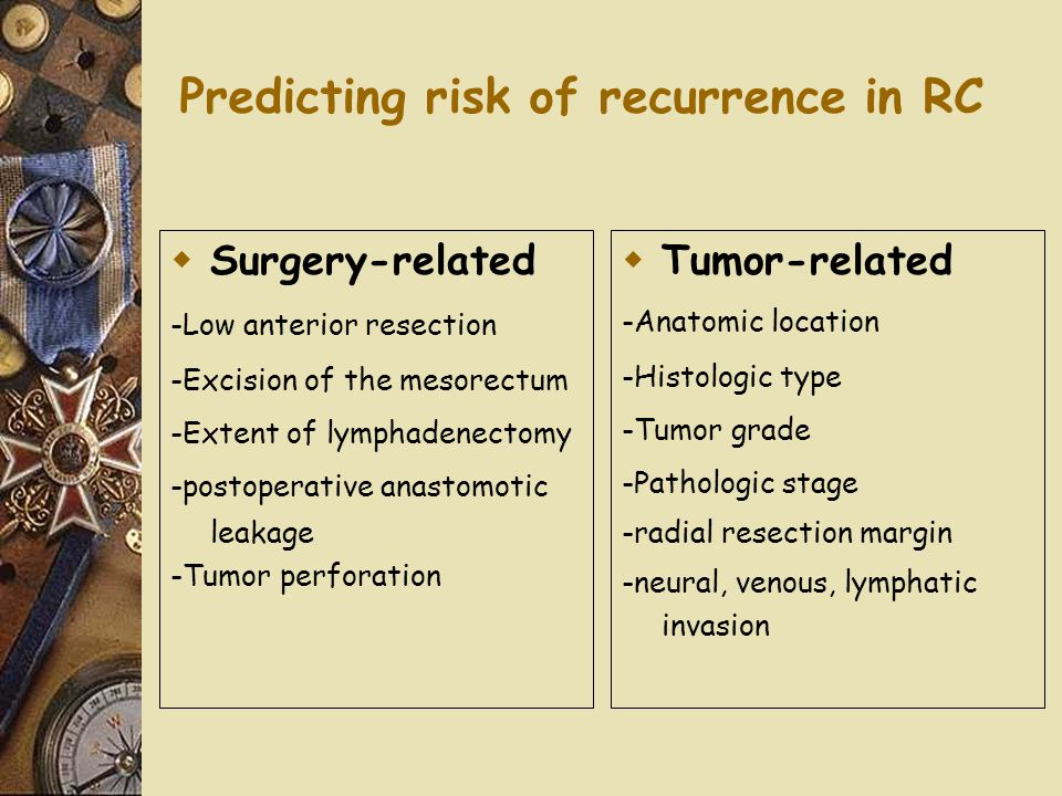 Predicting risk of recurrence in RC