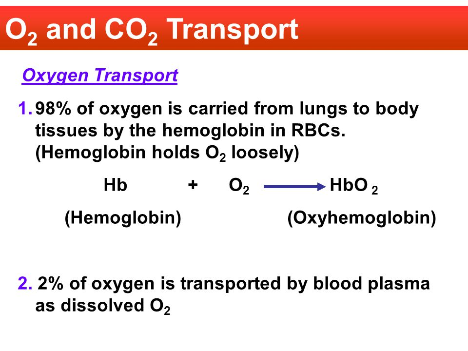 O2 and CO2 Transport Oxygen Transport