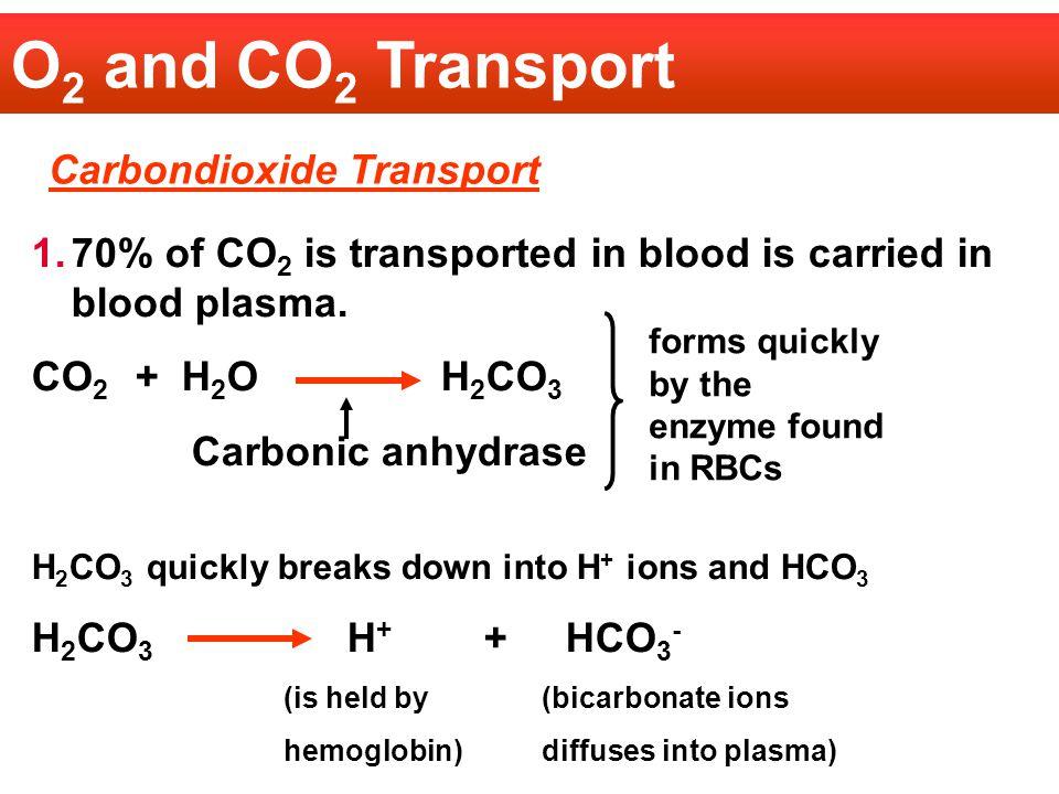 O2 and CO2 Transport Carbondioxide Transport