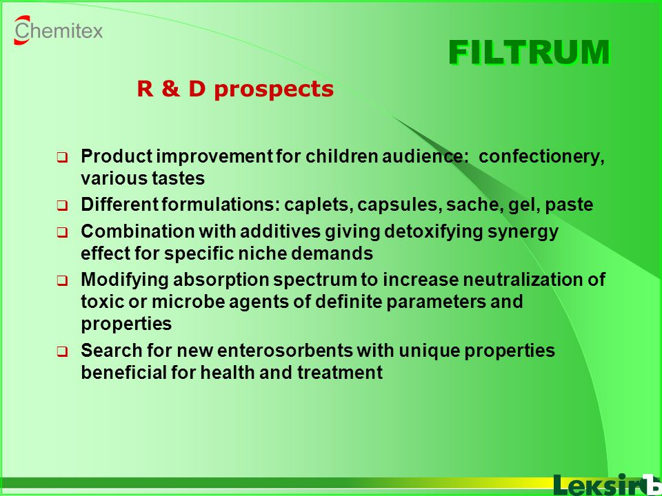 FILTRUM R & D prospects. Product improvement for children audience: confectionery, various tastes.