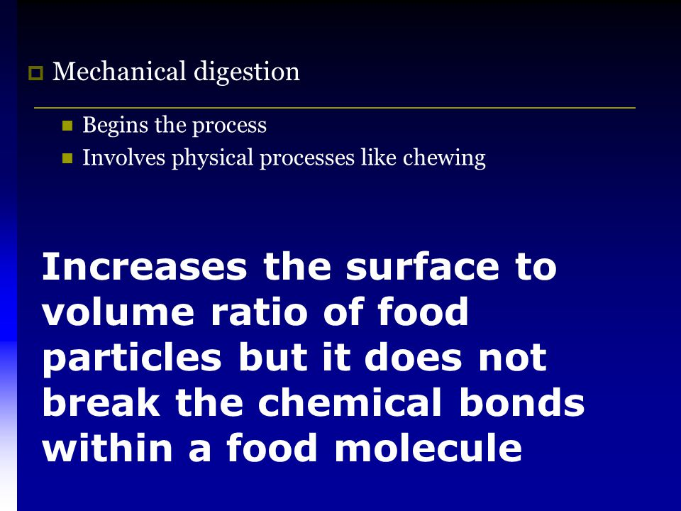 Mechanical digestion Begins the process. Involves physical processes like chewing.