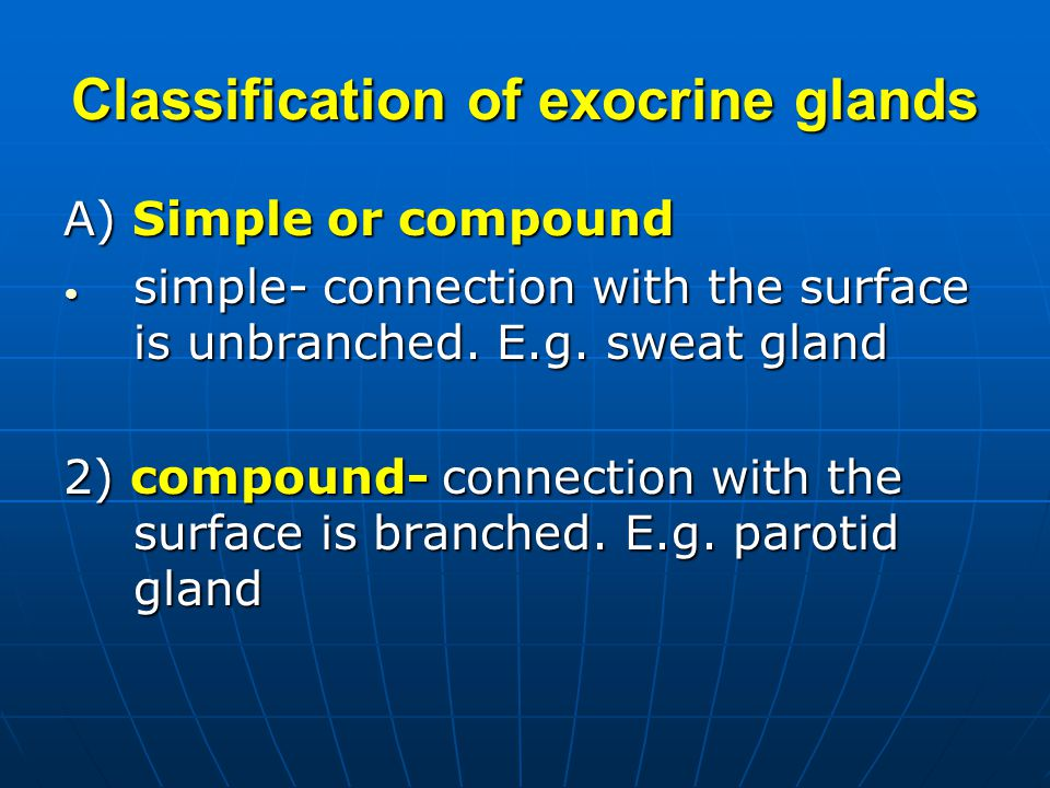 Classification of exocrine glands