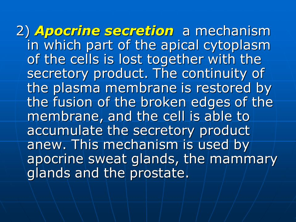2) Apocrine secretion a mechanism in which part of the apical cytoplasm of the cells is lost together with the secretory product.