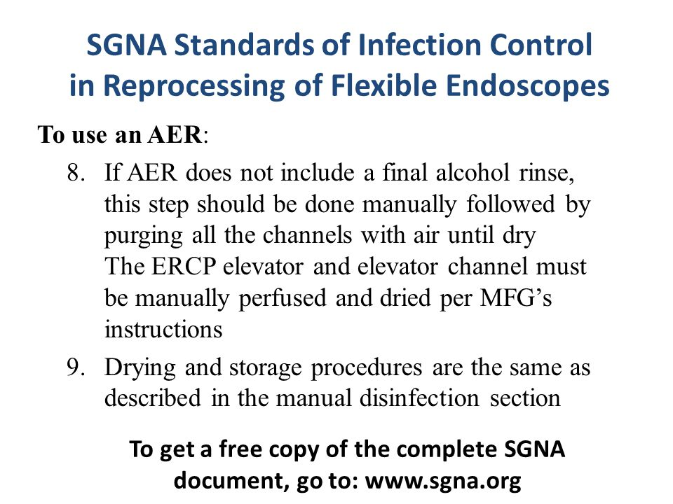 To get a free copy of the complete SGNA document, go to: www.sgna.org