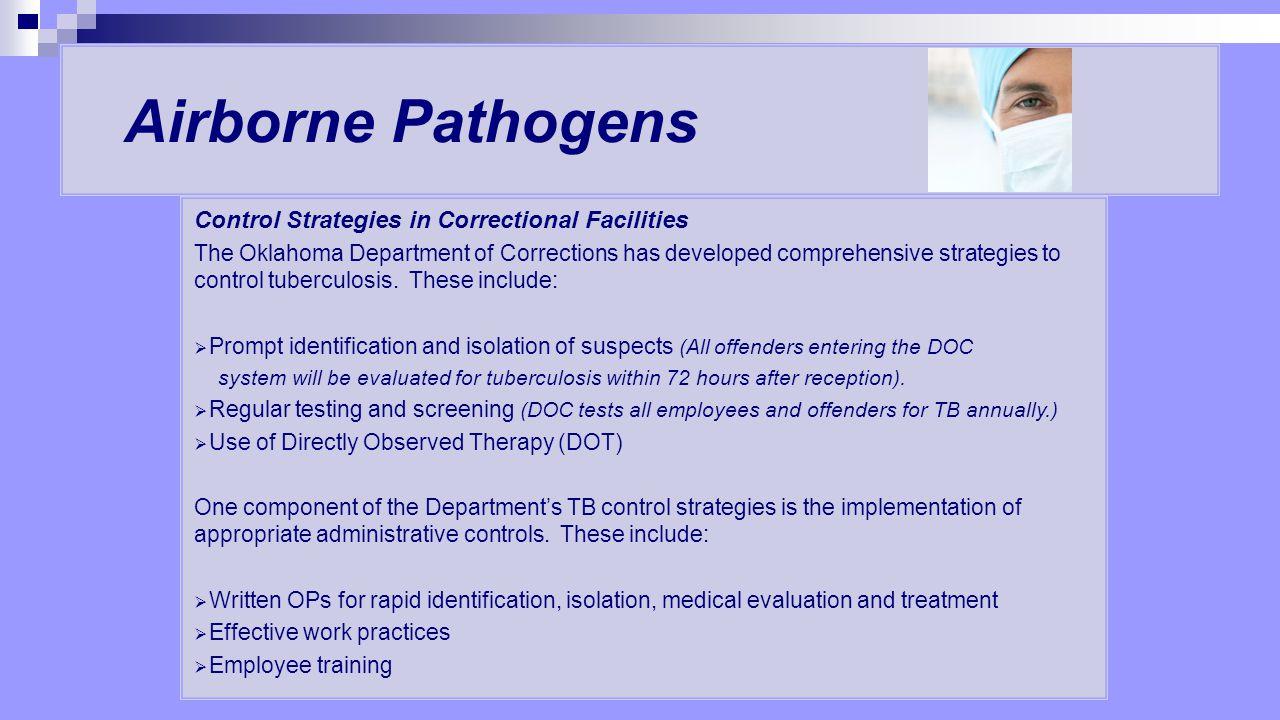 Airborne Pathogens Control Strategies in Correctional Facilities