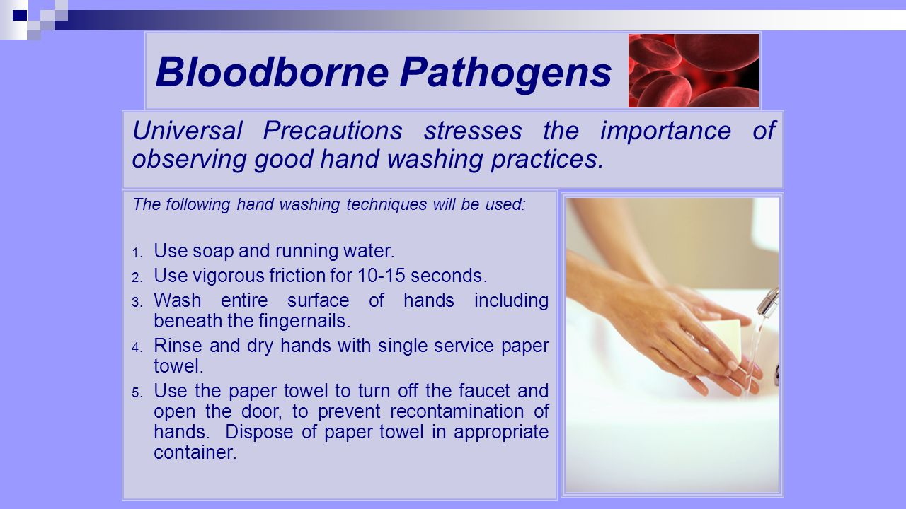 Bloodborne Pathogens Universal Precautions stresses the importance of observing good hand washing practices.