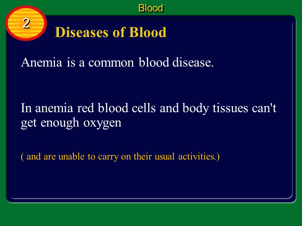Diseases of Blood 2 Anemia is a common blood disease.