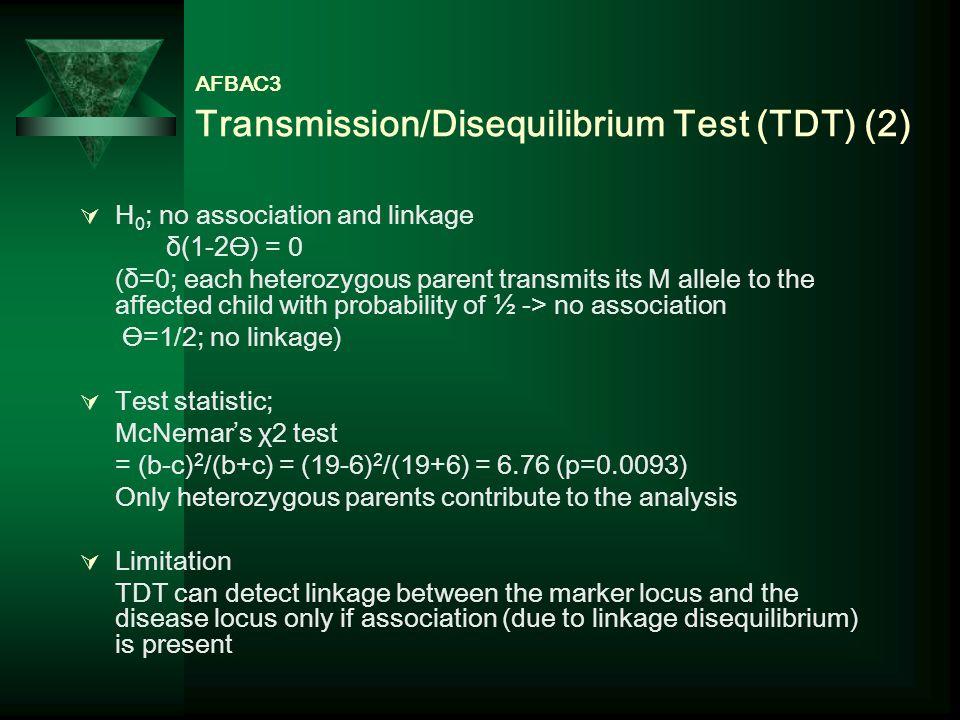 AFBAC3 Transmission/Disequilibrium Test (TDT) (2)