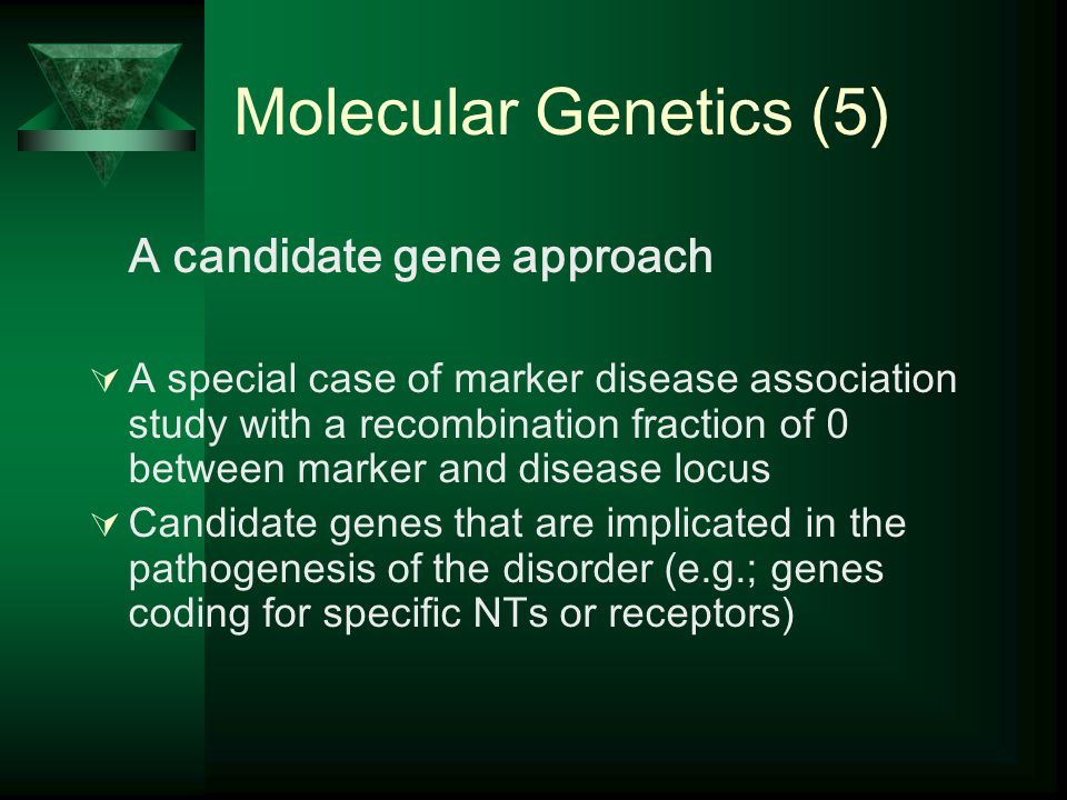 Molecular Genetics (5) A candidate gene approach