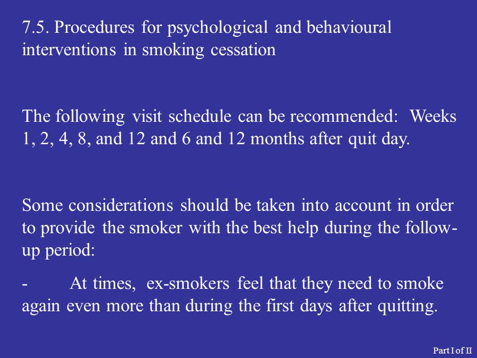 7.5. Procedures for psychological and behavioural interventions in smoking cessation