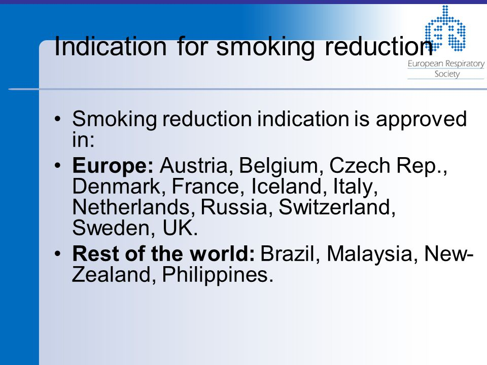 Indication for smoking reduction