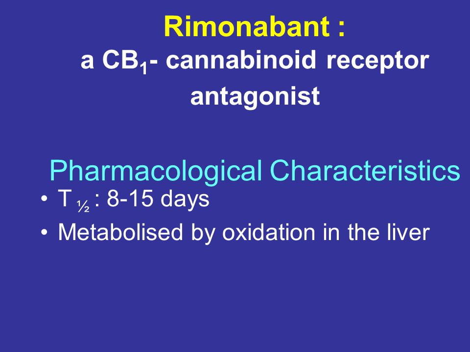 Rimonabant : a CB1- cannabinoid receptor antagonist Pharmacological Characteristics