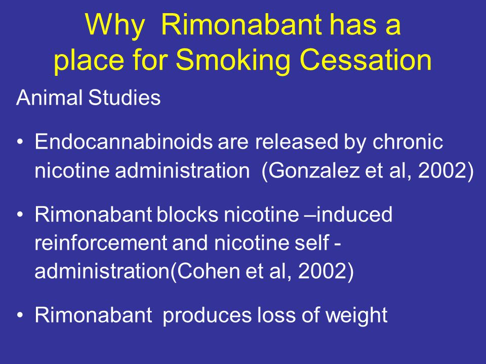 Why Rimonabant has a place for Smoking Cessation