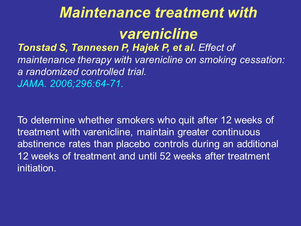 Maintenance treatment with varenicline