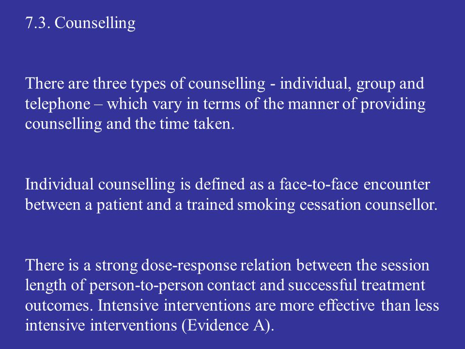 7.3. Counselling
