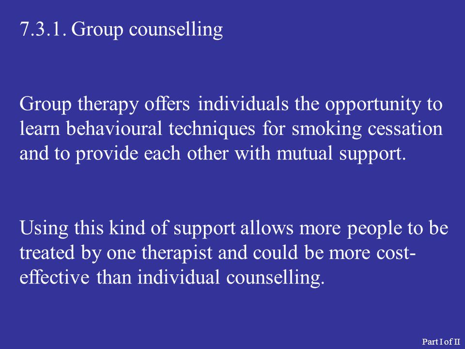 7.3.1. Group counselling
