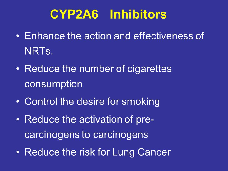 CYP2A6 Inhibitors Enhance the action and effectiveness of NRTs.
