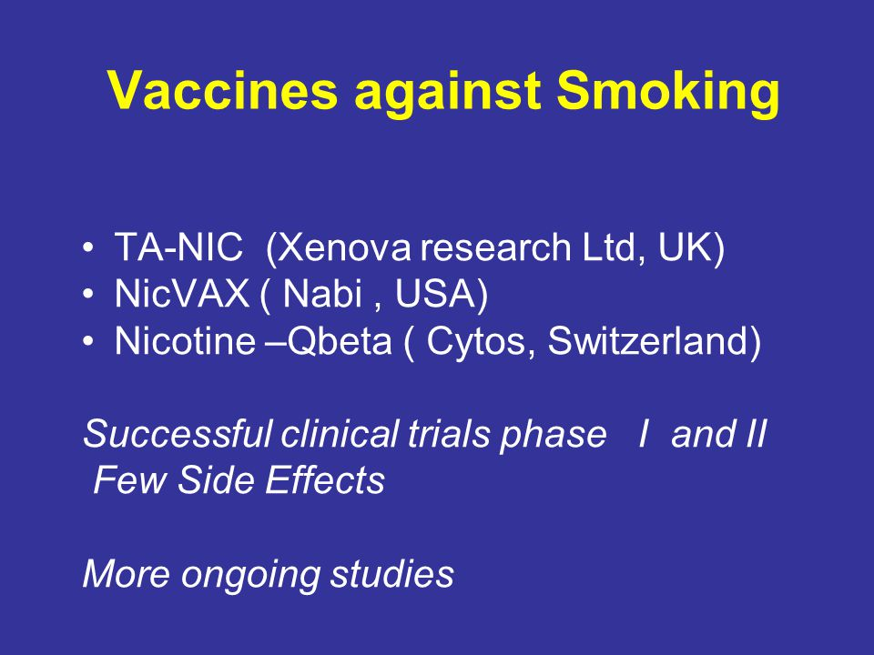 Vaccines against Smoking