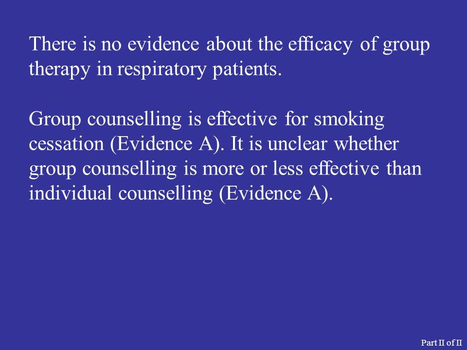 There is no evidence about the efficacy of group therapy in respiratory patients.