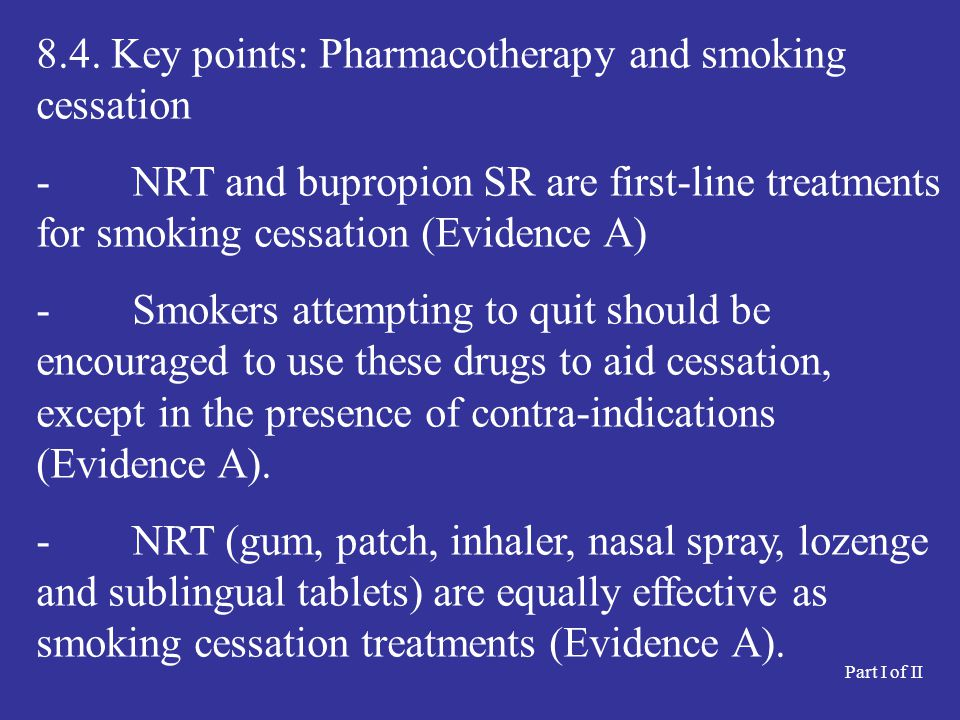 8.4. Key points: Pharmacotherapy and smoking cessation