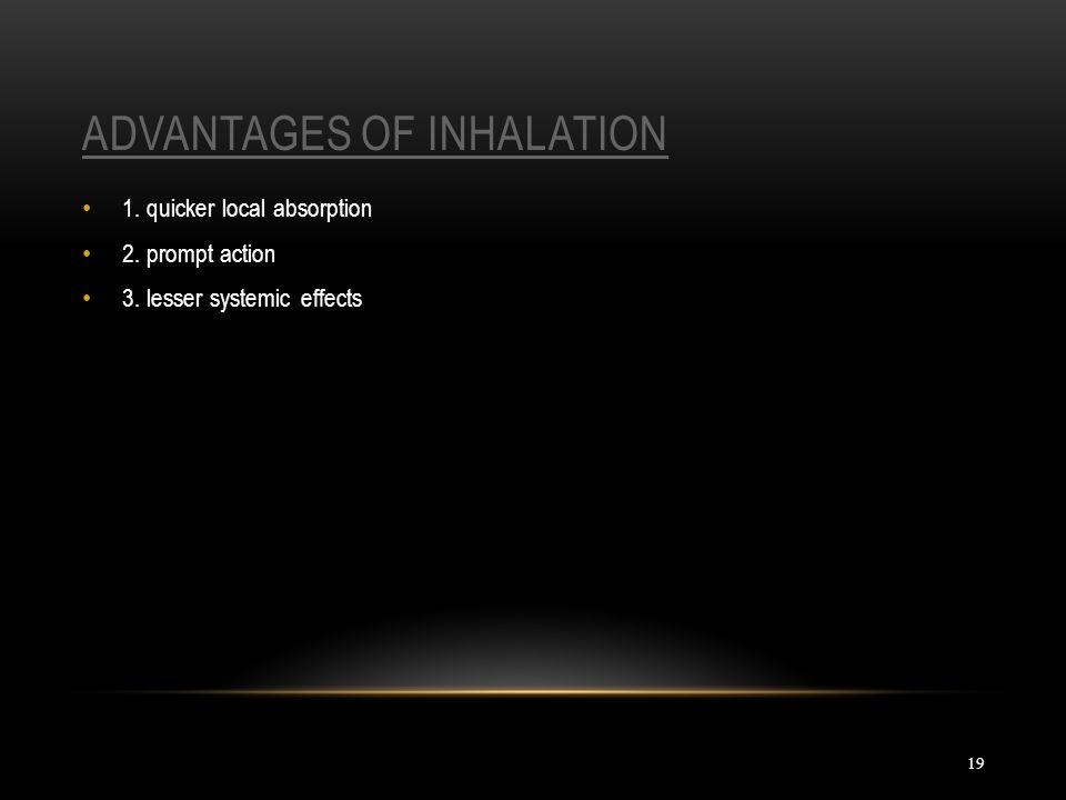 Advantages of inhalation