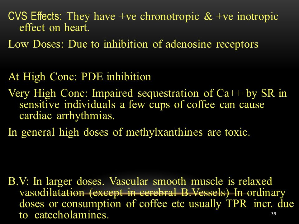 CVS Effects: They have +ve chronotropic & +ve inotropic effect on heart.