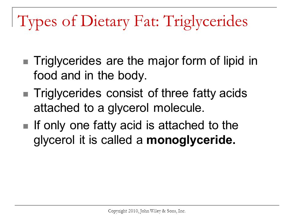 Types of Dietary Fat: Triglycerides