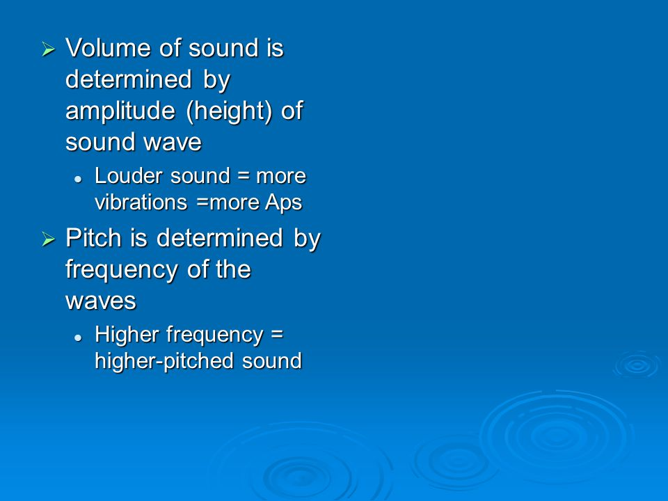 Volume of sound is determined by amplitude (height) of sound wave