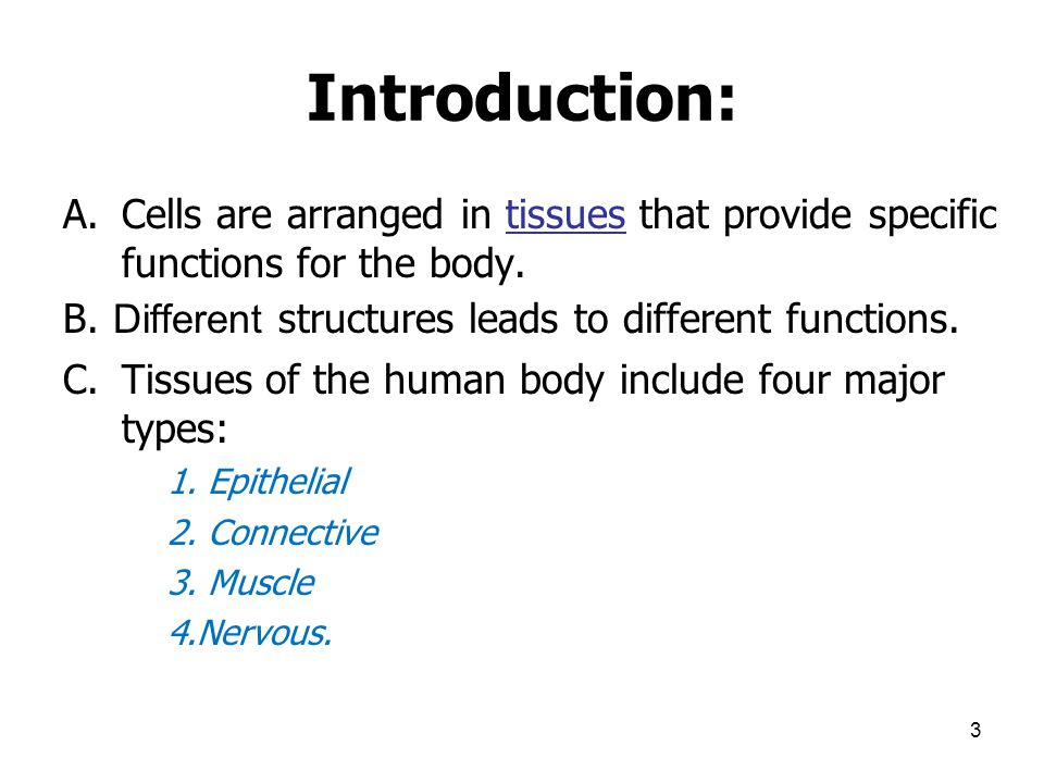 Introduction: Cells are arranged in tissues that provide specific functions for the body. B. Different structures leads to different functions.