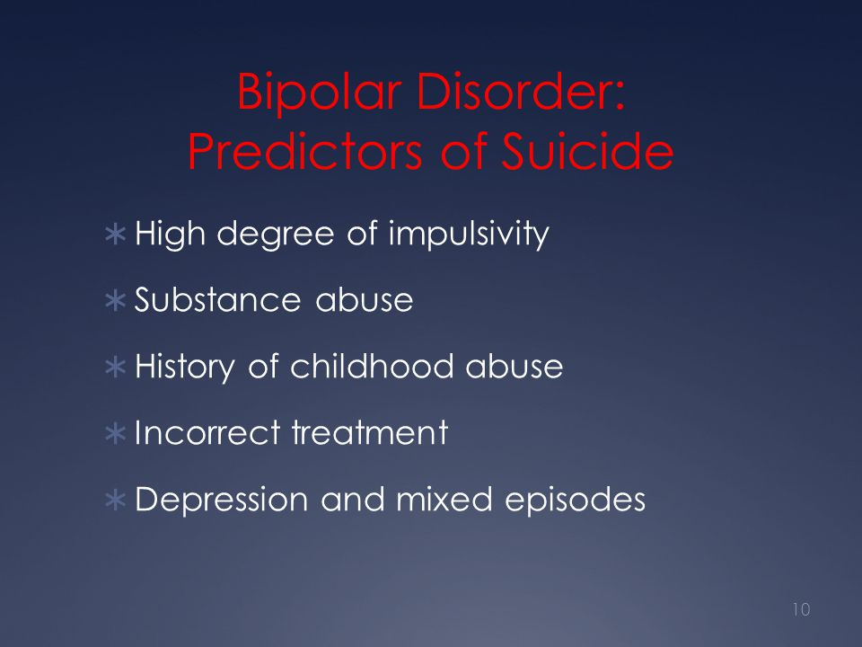 Bipolar Disorder: Predictors of Suicide