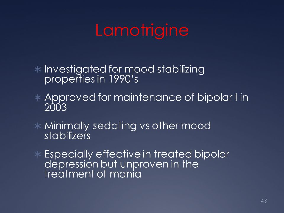 Lamotrigine Investigated for mood stabilizing properties in 1990's