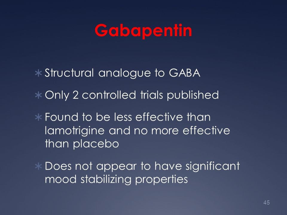 Gabapentin Structural analogue to GABA