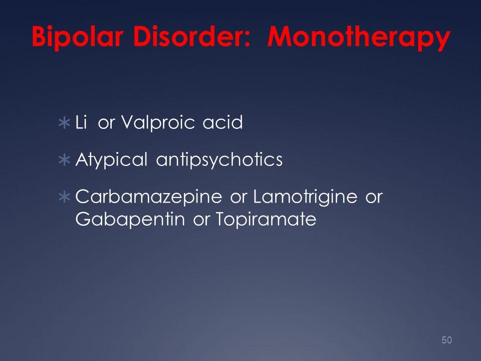 Bipolar Disorder: Monotherapy