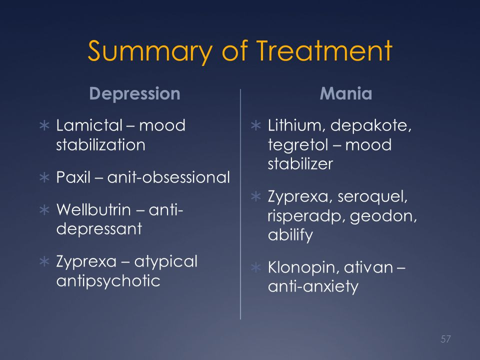 Summary of Treatment Depression Mania Lamictal – mood stabilization