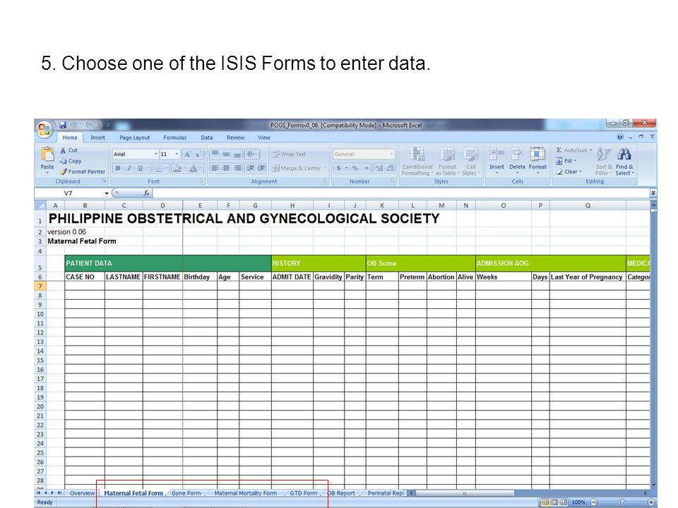 5. Choose one of the ISIS Forms to enter data.