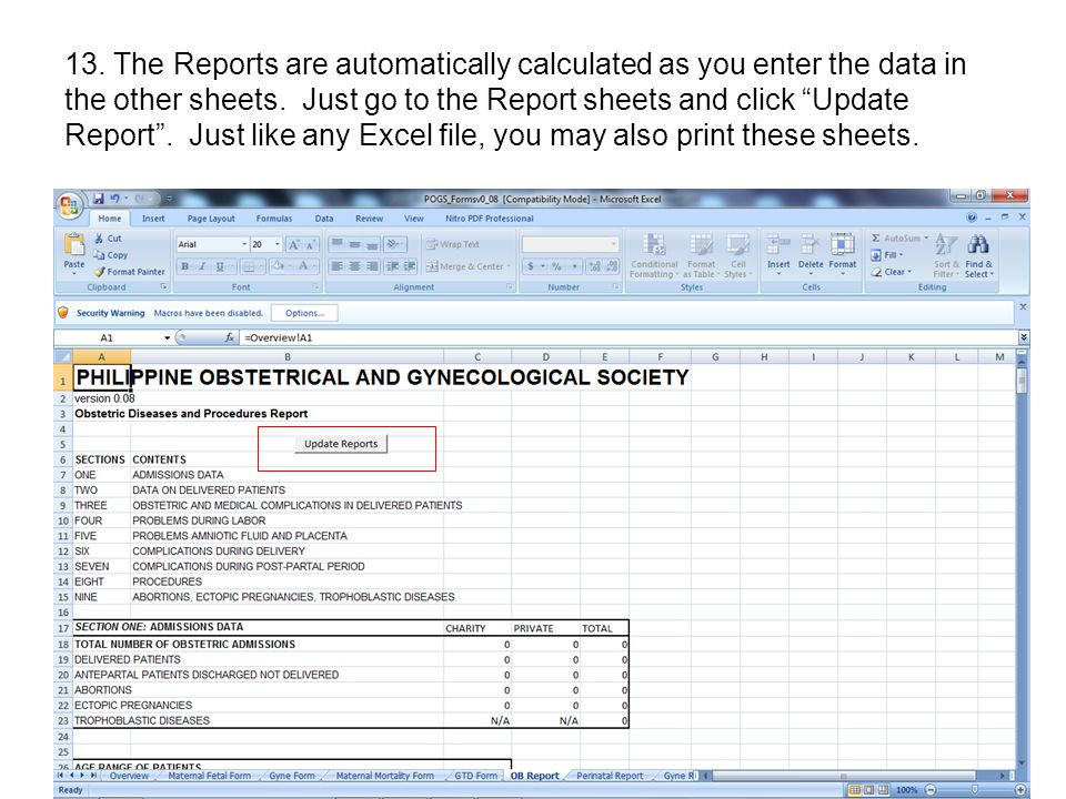 13. The Reports are automatically calculated as you enter the data in the other sheets.